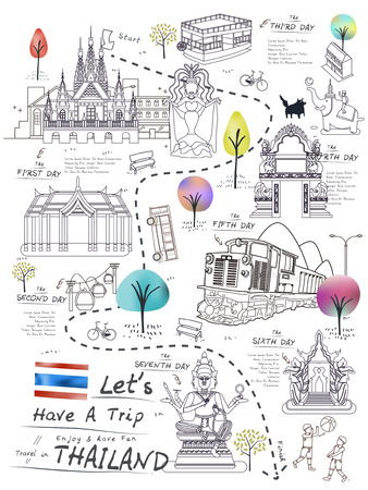 attractive Thailand walking map poster in line style Иллюстрация