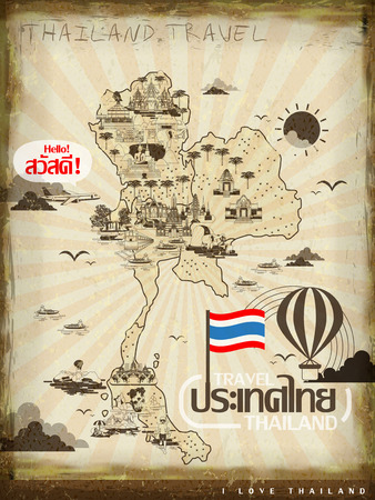 retro Thailand travel concept poster in line style - Thailand and hello words in Thai