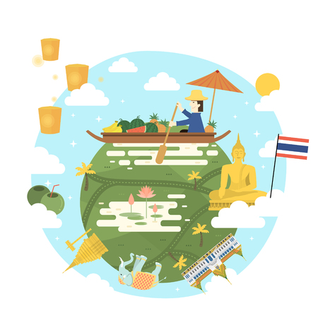 thai culture: lovely Thailand travel poster in flat style Illustration