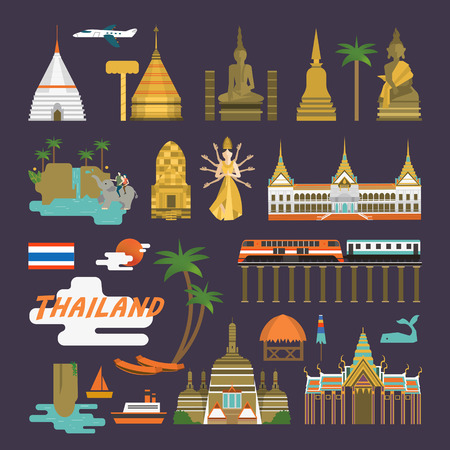 simplicity Thailand travel concept collection set in flat style Illustration