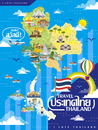 wat pho: attractive Thailand travel map in flat style - Thailand and hello words in Thai