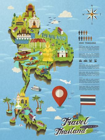플랫 스타일의 매력적인 태국 여행 개념지도