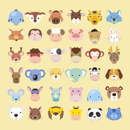 belle collection de têtes d'animaux mis dans le style plat