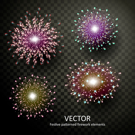 sumptuous: sumptuous colorful fireworks collection on transparent background