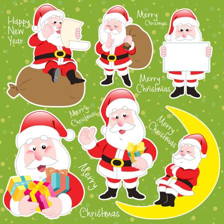 green cute: cute cartoon Santa Claus collection on green background