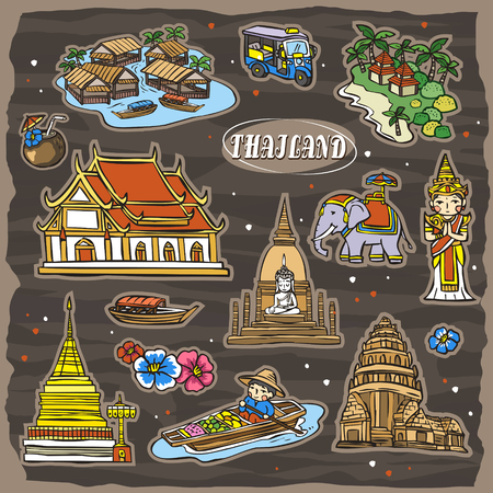 adorable Thailand travel concept collection set in hand drawn style