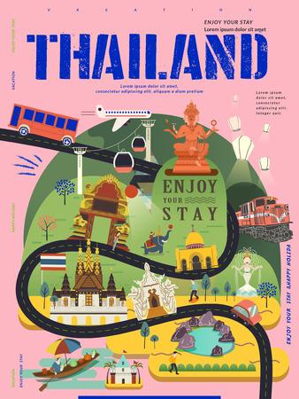 moderne reizen concept poster Thailand in vlakke stijl