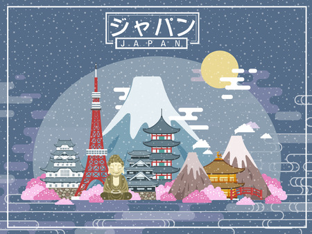 lovely Japan travel poster - Japan in Japanese words on the middle