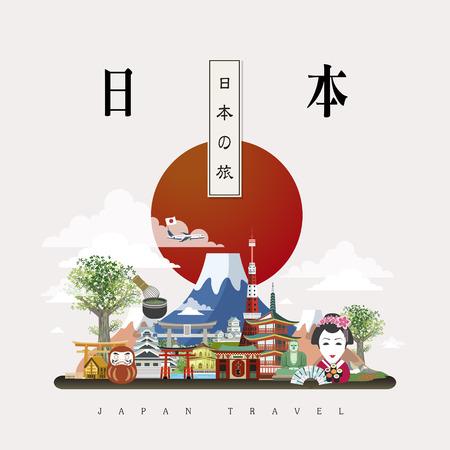 cultura: atractivo diseño del cartel del viaje de Japón - Japón viajes en palabras japonesas Vectores