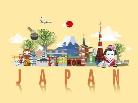 prachtige Japan reisposter ontwerp in vlakke stijl