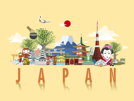 wonderful Japan travel poster design in flat style Çizim
