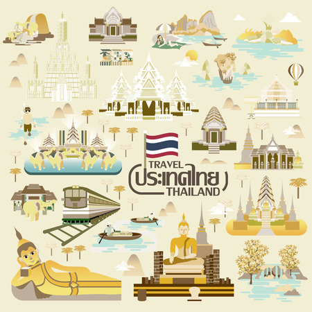 thailand culture: exquisite Thailand travel concept collection - Thailand country name in Thai Illustration