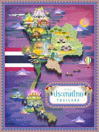 bangkok night: attractive Thailand travel map - title word is Thailand country name in Thai