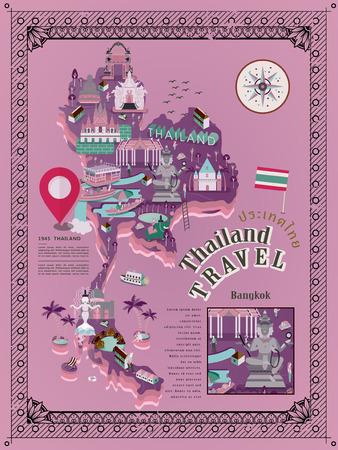 thai dance: retro Thailand travel poster - Thailand country name in Thai word