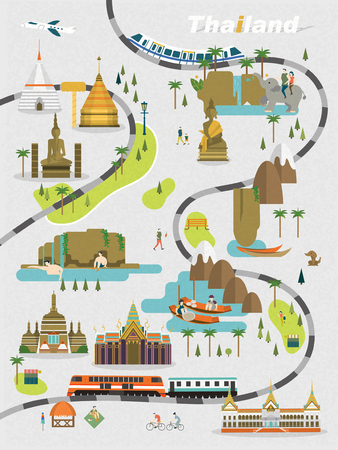 adorable Thailand walking map in flat style Illustration