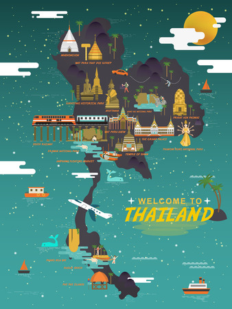 attractive Thailand travel concept poster in flat style Illustration