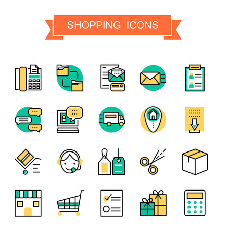e shop: shopping icons collection in thin line style Illustration