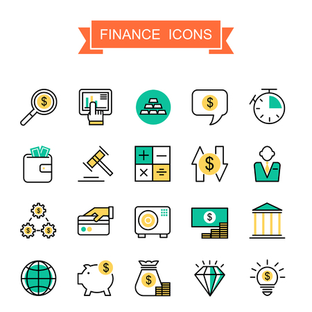 finance icons: finance icons collection in thin line style Illustration