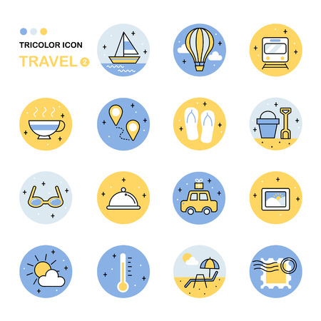 hot line: travel thin line icon collection in flat style