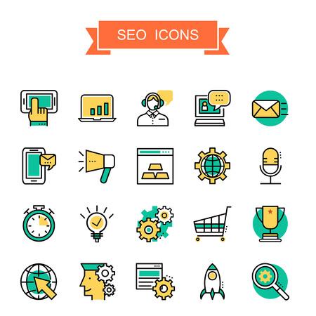 SEO collectie iconen in dunne lijn stijl