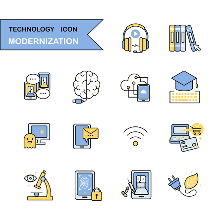 social icon: technology thin line icon collection in flat style
