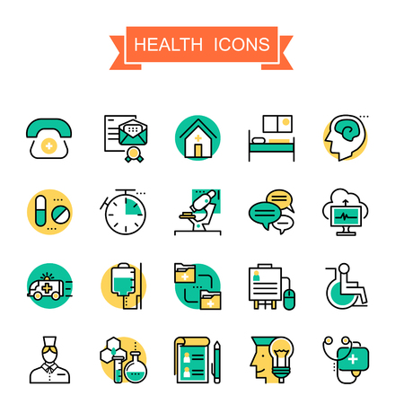 health icons collection in thin line style