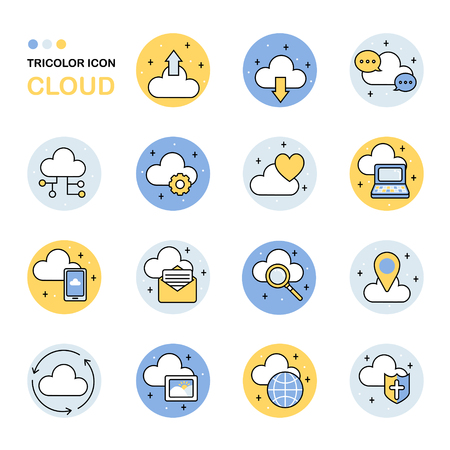 arrow icon: cloud thin line icon collection in flat style