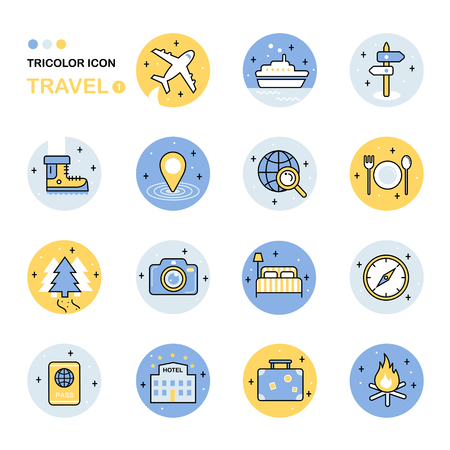 travel icon: travel thin line icon collection in flat style