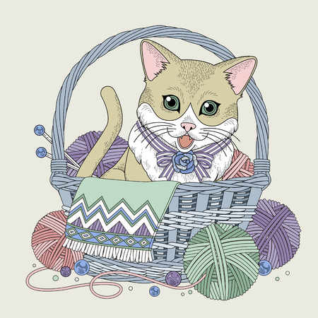 meow: adorable kitty in basket coloring page in exquisite line