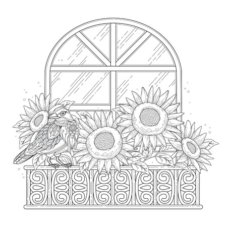 detailed: beautiful sunflowers coloring page with floral elements in exquisite line
