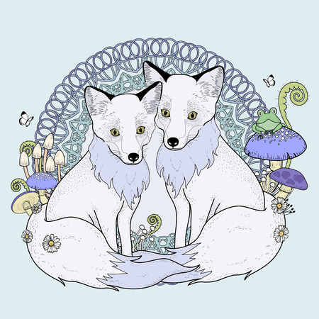 snow fox coloring page in exquisite line