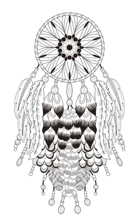 attractive dream catcher coloring page with in exquisite line