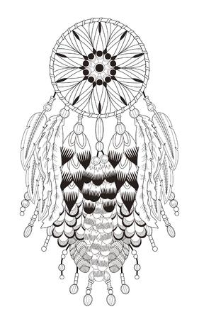Attraktiv Traumfänger Malvorlagen mit in exquisite Linie Standard-Bild - 49716083