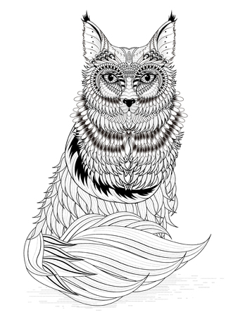 adorable fox coloring page in exquisite line