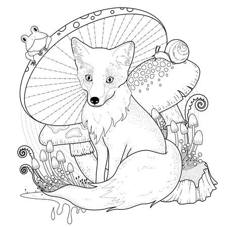 lijntekening: schattige fox kleurplaat met champignons in prachtige lijn Stock Illustratie