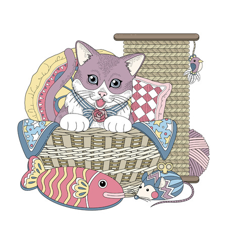 black and white sewing: adorable kitty in basket coloring page in exquisite line