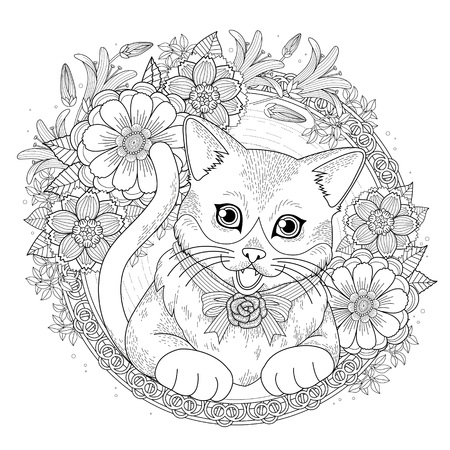 adorable kitty coloring page with floral wreath in exquisite line Stock Illustratie