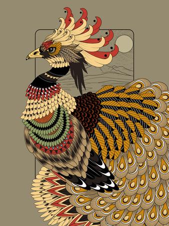 oiseau dessin: somptueuse page à colorier de paon dans la ligne exquise Illustration