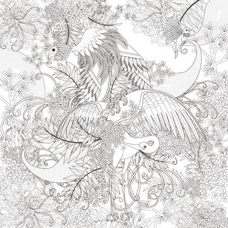 monochrome: beautiful flying bird coloring page with floral elements in exquisite line