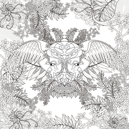 detailed: fantastic beetles coloring page with floral elements in exquisite line