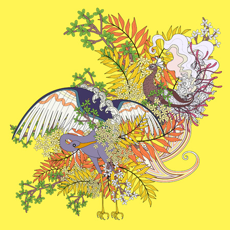 bird flying: beautiful flying bird coloring page with floral elements in exquisite line