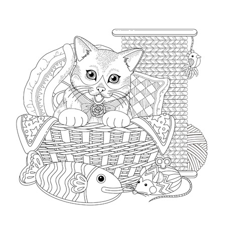 sewing pattern: adorable kitty in basket coloring page in exquisite line