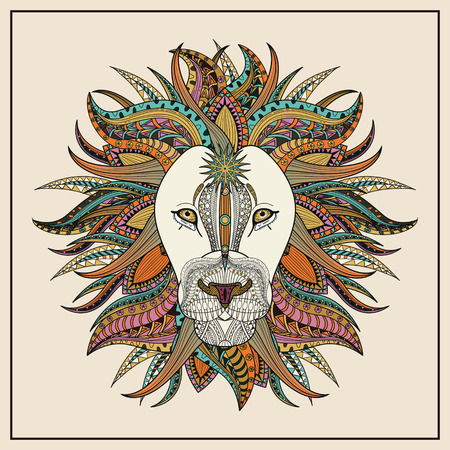 black and white line drawing: imposing lion coloring page in exquisite line Illustration