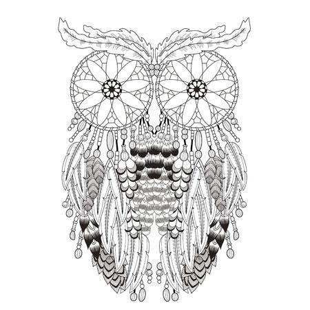 Couper le souffle Coloriage hibou avec des capteurs de rêves dans la ligne exquise Banque d'images - 49728848