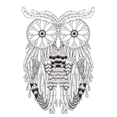 breathtaking owl coloring page with dream catchers in exquisite line