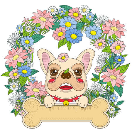 dogo: Colorear bulldog adorable con elementos florales en exquisita l�nea Vectores