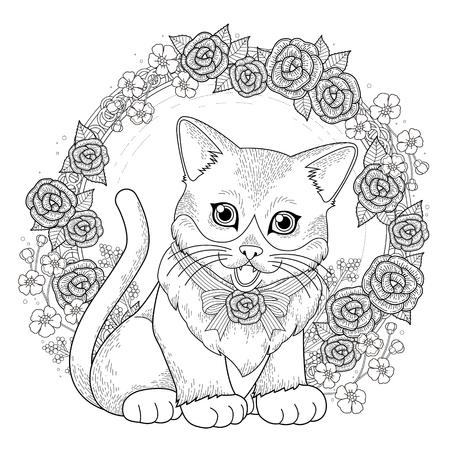 rosas blancas: adorable gatito para colorear con corona de flores en línea exquisita