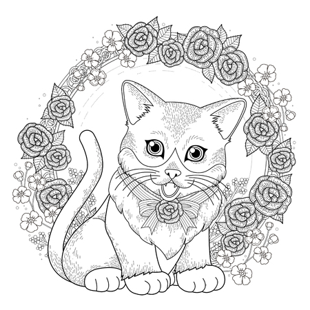 white roses: adorable kitty coloring page with floral wreath in exquisite line Illustration