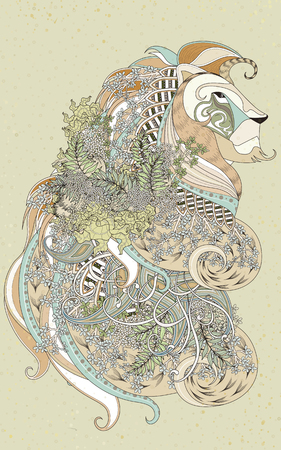 detailed: attractive lion coloring page with floral elements in exquisite line