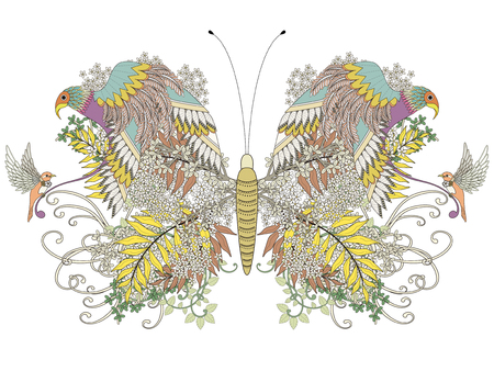 exquisite: creative butterfly coloring page with floral elements in exquisite line Illustration